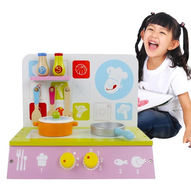 Bayi Mainan Kitchen Set dengan Memasak Bangku Kayu Hijau   Pot Anak  Berpura-pura Bermain 572d4eb055