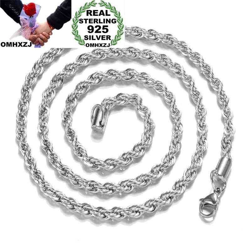 OMHXZJ Wholesale Personality Fashion Unisex Party Wedding Gift Silver 2MM Rope Chain 925 Sterling Silver Chain Necklace NC184