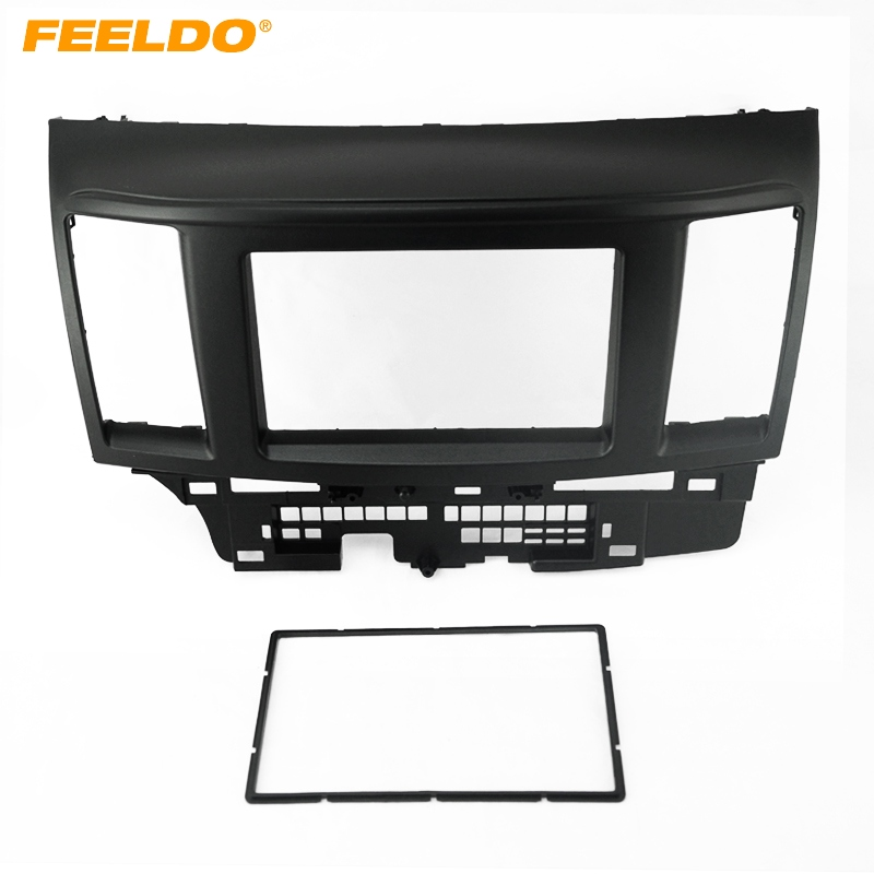 FEELDO Black Car 2DIN Refitting DVD Frame DVD Panel Dash Kit Fascia Radio Audio frame For Mitsubishi Lancer and Fortis  #AM2736 liislee 2 din plastic frame panel for alfa romeo giulietta 940 2010 2016 aftermarket radio stereo dvd gps navi installation