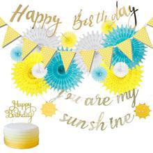 You are my sunshine Birthday Decoration Set Happy Gold Glitter Banner Sun Bunting Blue Yellow