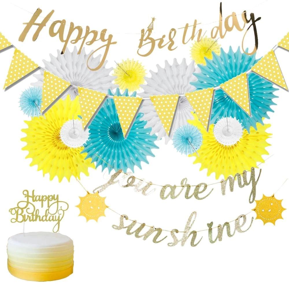You are my sunshine Birthday Decoration Set Happy Birthday Gold Glitter  Birthday Banner Sun Bunting Blue Yellow Decoration