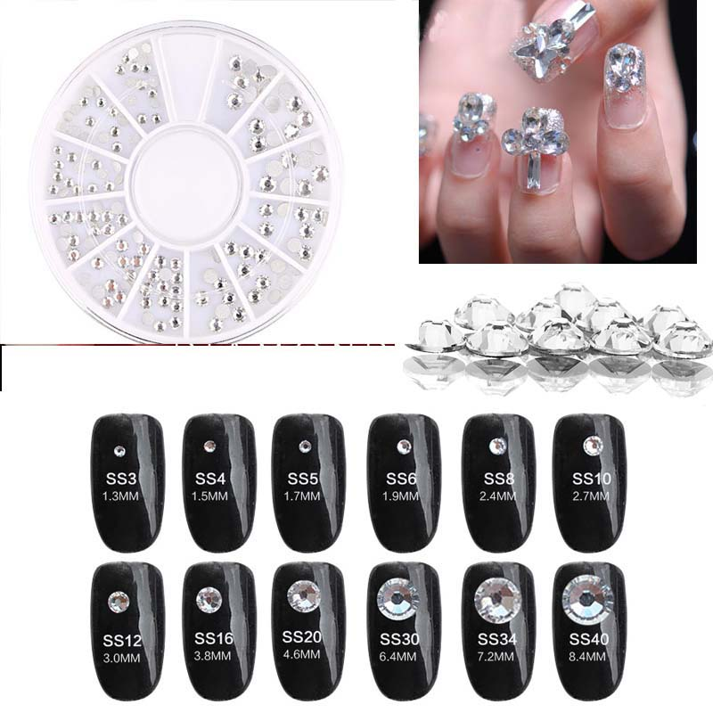 1 Wheel Nail Rhinestone T37673 Mix Shape Rhinestones For Nails Round/Crystal Stones Art Decoration In TYEWU2629