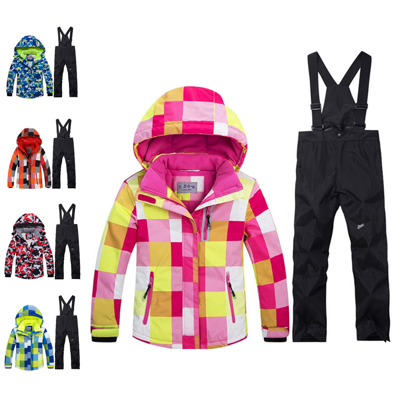 цена Winter Children Snow Coats Ski suit sets outdoor Gilr/Boy skiing snowboarding clothing waterproof thermal jacket + bib pants