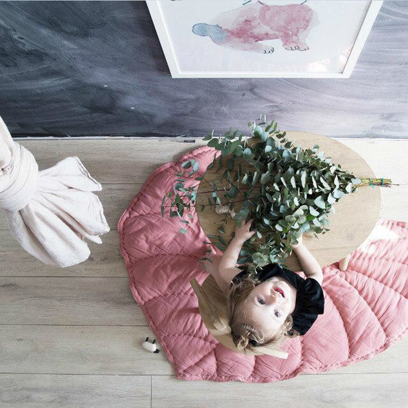 Tapis de jeu pour enfants en feuille solide MG26 couverture en coton fait main décor de chambre de bébé livraison gratuite tapis rampant petit tapis de jeu