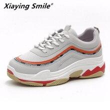 Xiaying Smile новый основной стиль для женщин кроссовки кружево до спортивная обувь для улицы бег обувь для прогулок Удобные Спортивная обувь