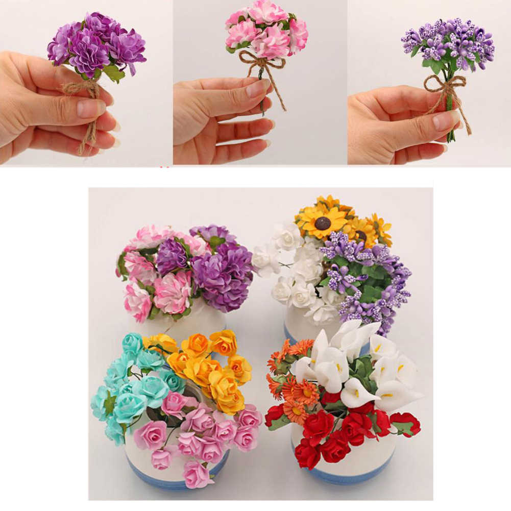 Handmade Bouquet Artificial Flowers For Doll House Fake Purple Lavender Carnation Rose Sunflower For Calla lily Doll Decor
