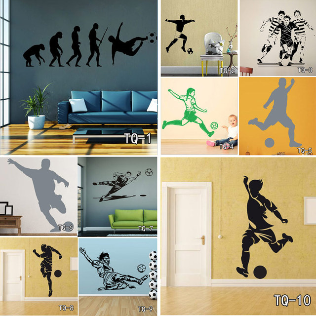 Football Player And Soccer Wall Art Decor Customized Wall Sticker For Kid\'s Boy Girl Room Fashion Sport Home Decor Vinyl Decals