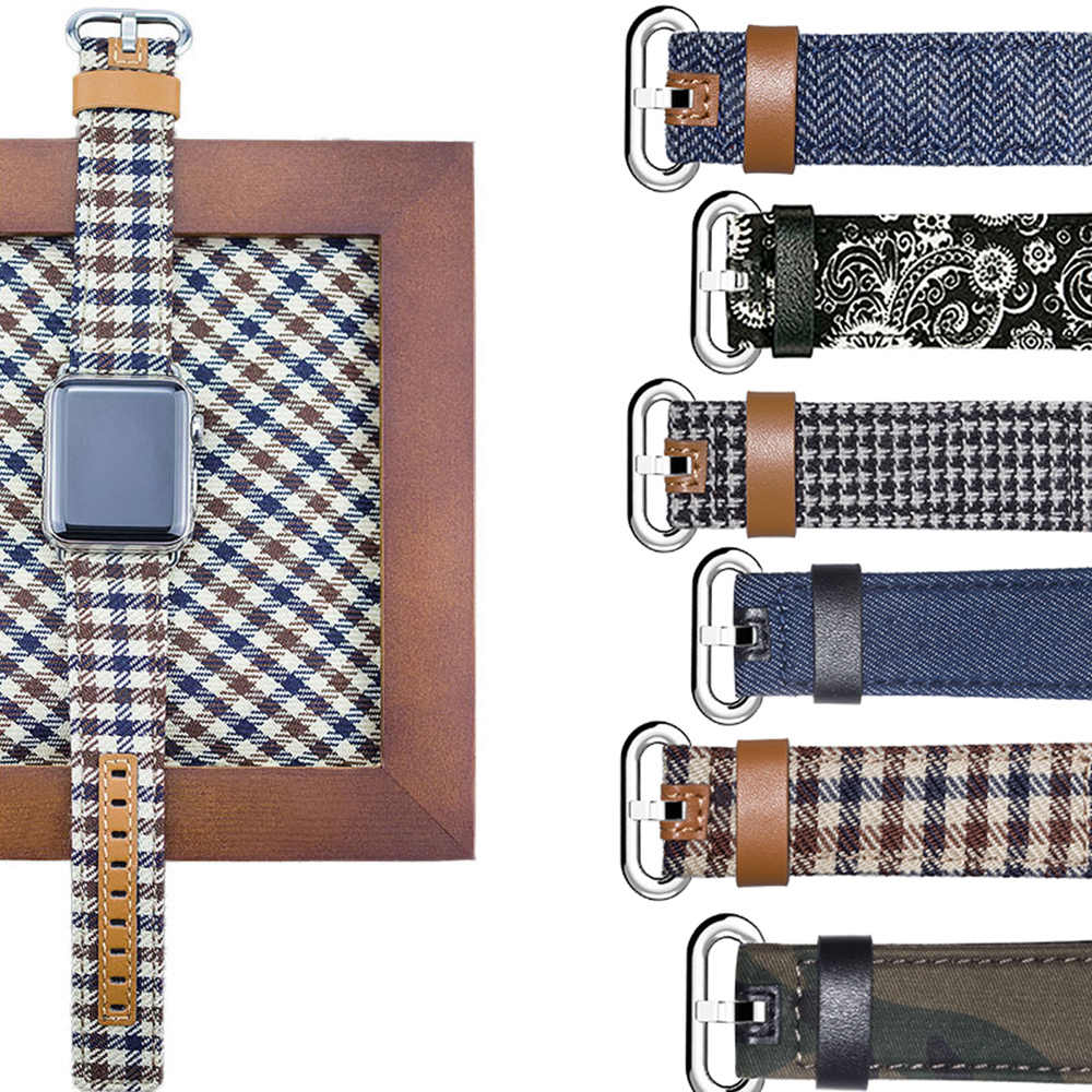 12 Style Denim Fabric Genuine Leather Watchband For Apple Watch 38mm 42mm Band Bracelet For iWatch 40mm 44mm Series 1 2 3 4