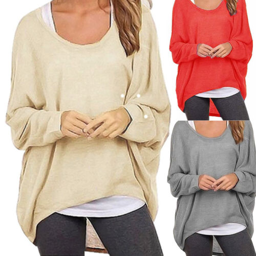 2017 Hot Women Loose Long Sleeve Tops O neck Casual Cotton T-Shirt Size S to XXL
