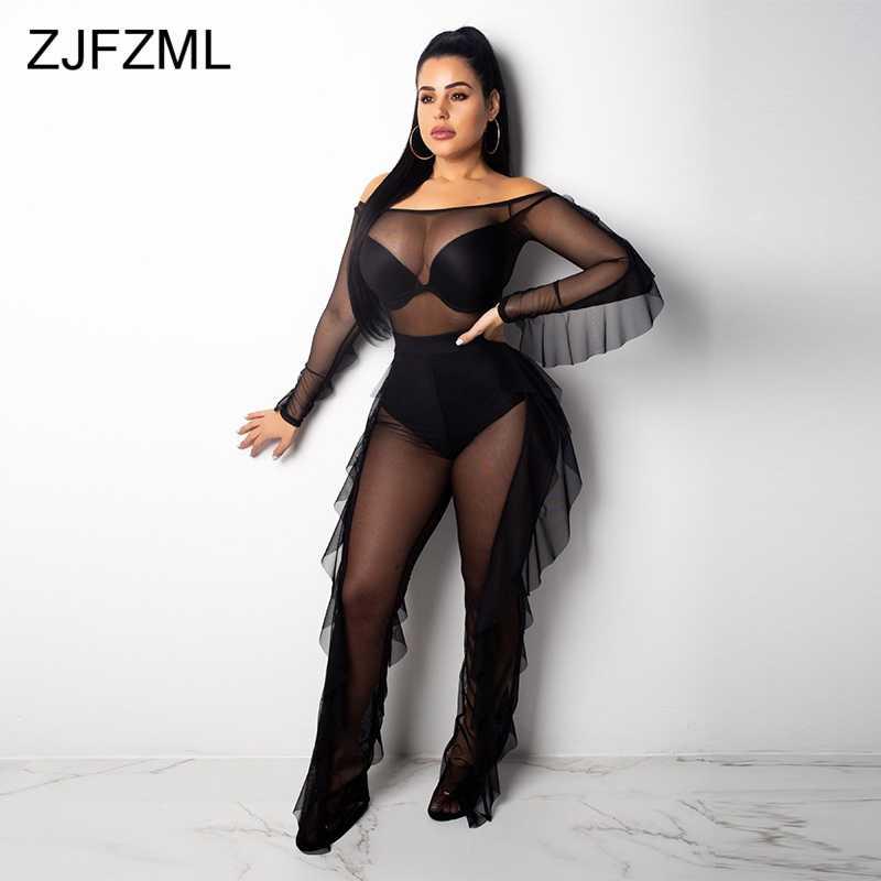 e960cdadca1 Black Sheer Mesh See Through Two Piece Set Women Slash Neck Long Sleeve  Bandage Bodysuit+