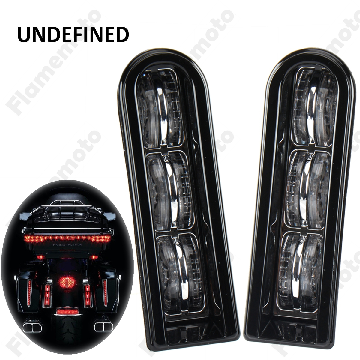 Black Motorcycle Parts Accent Saddlebag Filler Insert Support LED Lights For Harley Touring Electra Road Glide CVO UNDEFINED