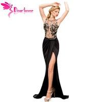 Dear Lover 2016 Formelle Fishtail Sirène Robe Sexy Dame Brodé Mesh Wrap Dos Nu Maxi Robe Robes de Gala Robes LC6839