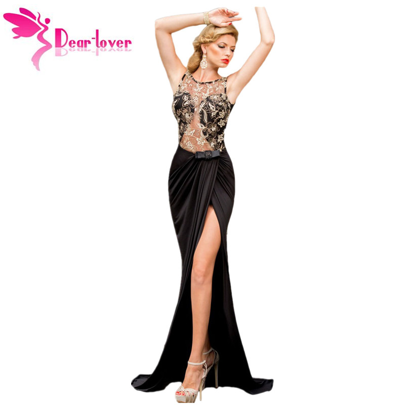 Dear Lover 2016 Formal Fishtail Mermaid Robe Sexy Lady Embroidered Mesh Wrap Backless Maxi Dress Vestidos de Gala Gowns LC6839