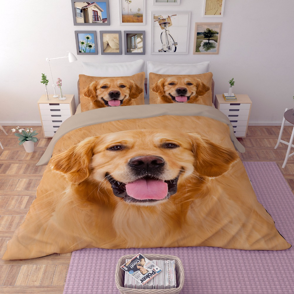 3D lovely Dog Bedding Sets 3pcs soft bedclothes duvet cover quilt cover pillow cases twin full queen king Home textiles3D lovely Dog Bedding Sets 3pcs soft bedclothes duvet cover quilt cover pillow cases twin full queen king Home textiles