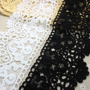 95mm 10cm Hollow Out Crocheted Floral Lace Ribbons Water Soluble Embrodered Black White Lace Trimming DIY Crafts Handmade Fabric