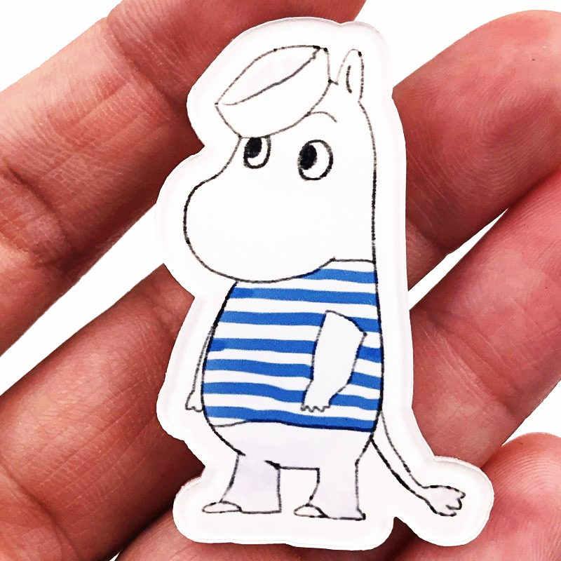 1Pcs Hippo ดอกไม้ม้าสัตว์อะนิเมะ Badge Harajuku อะคริลิค PIN ป้ายแจ็คเก็ตกระเป๋าเป้สะพายหลังเด็กผู้หญิงกระเป๋า Badge อุปกรณ์เสริมสำหรับเด็ก