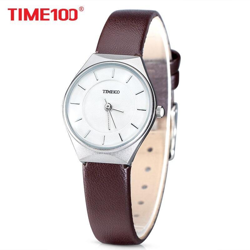 e45db345323d Time100 Mujeres Simples Relojes de Cuarzo Dial Correa de Cuero Marrón Caso  ltrathin Analógica Casual de Las Señoras Wirst Relojes relogio feminino