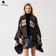 New Fashion Winter Warm Plaid poncho feminino inverno Capes For Cashmere Scarf Women Oversized Shawls and Wraps Pashmina Bufanda(China)