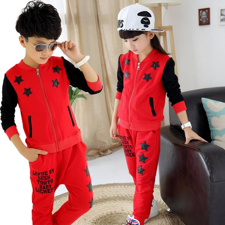 Sports Suit  New Costume For Boys And Girls Five - star Pattern Two - piece Spring Kids Tracksuit Conjunto Infantil Menina