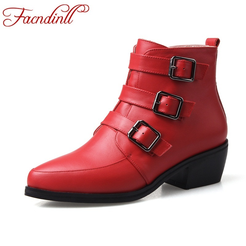 FACNDINLL autumn shoes woman genuine leather ankle boots ladies high heels winter boots buckle black red women motorcycle boots autumn and winter new ladies genuine