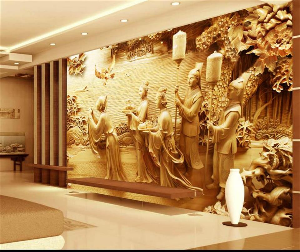 3d wallpaper custom photo non woven mural West Lake wood carving ...