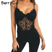 BerryGo Sexy backless lace bodysuit Black skinny fringe bodysuit