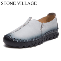 2017 Slip On Soft Genuine Leather Shoes Lazy Loafers Women Flats Mixed Color Casual Shoes Pointed