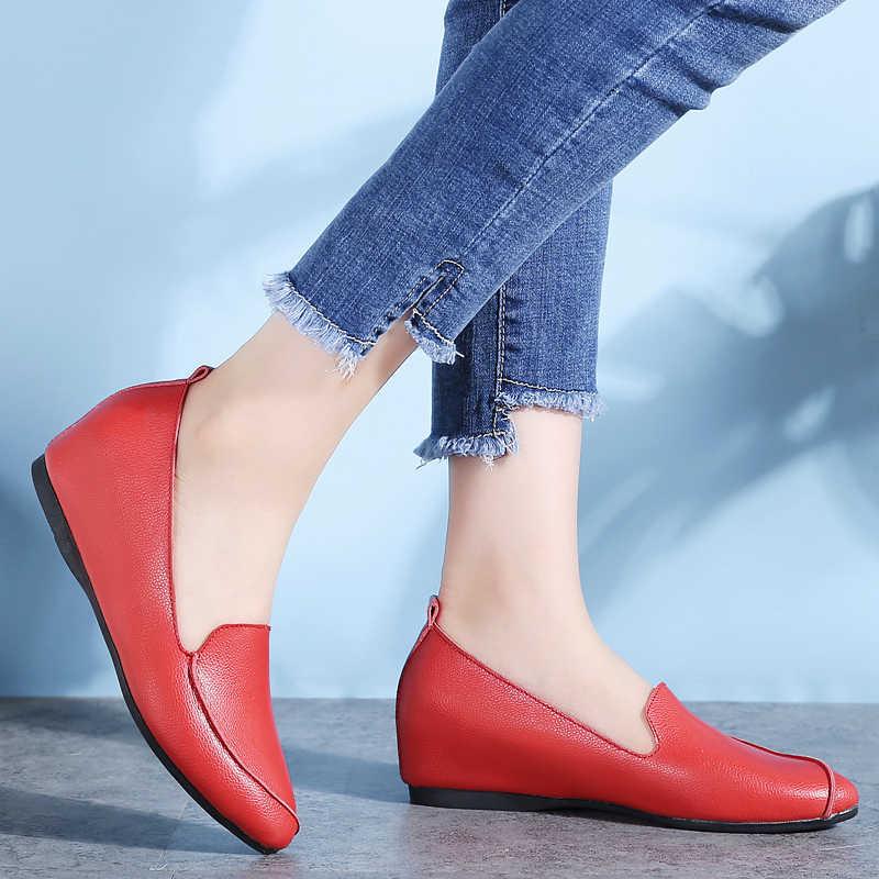 Plardin กล้ามเนื้อวัวบัลเล่ต์รองเท้าเย็บรองเท้าหนังแท้รองเท้าสตรีรองเท้าผู้หญิงยืดหยุ่นพยาบาลพยาบาลนุ่ม Peas Loafer แฟลตเพิ่ม