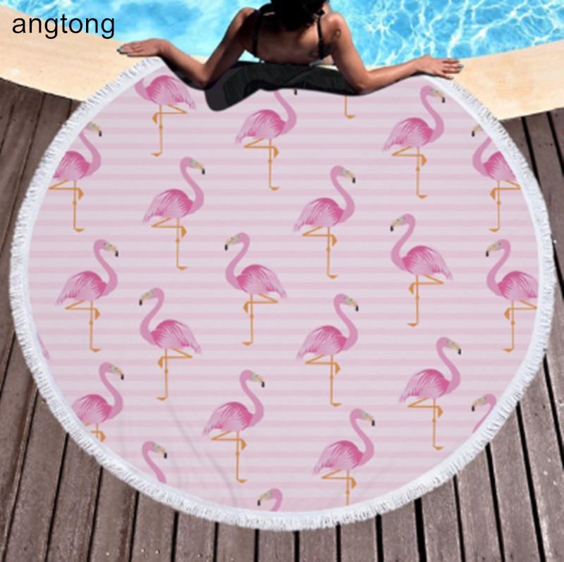 150 150cm Flamingo Print Round Beach Towel With Tassels
