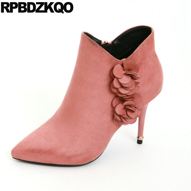 Shoes Pink Stiletto Ankle Fur Women Boots Winter 2017 Suede Flower Applique Embellished High Heel Pointed Toe Booties Designer young girl s black suede open toe lace up ankle sandal boots stiletto heel fringe dress shoes braid embellished party shoes