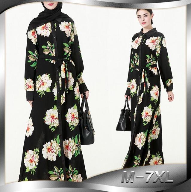 f93f886df4d New Muslim Robe Muslimah Jubah Fashion Full Button Flower Long Maxi Dresses  Plus Size Dress Elegant Women a657