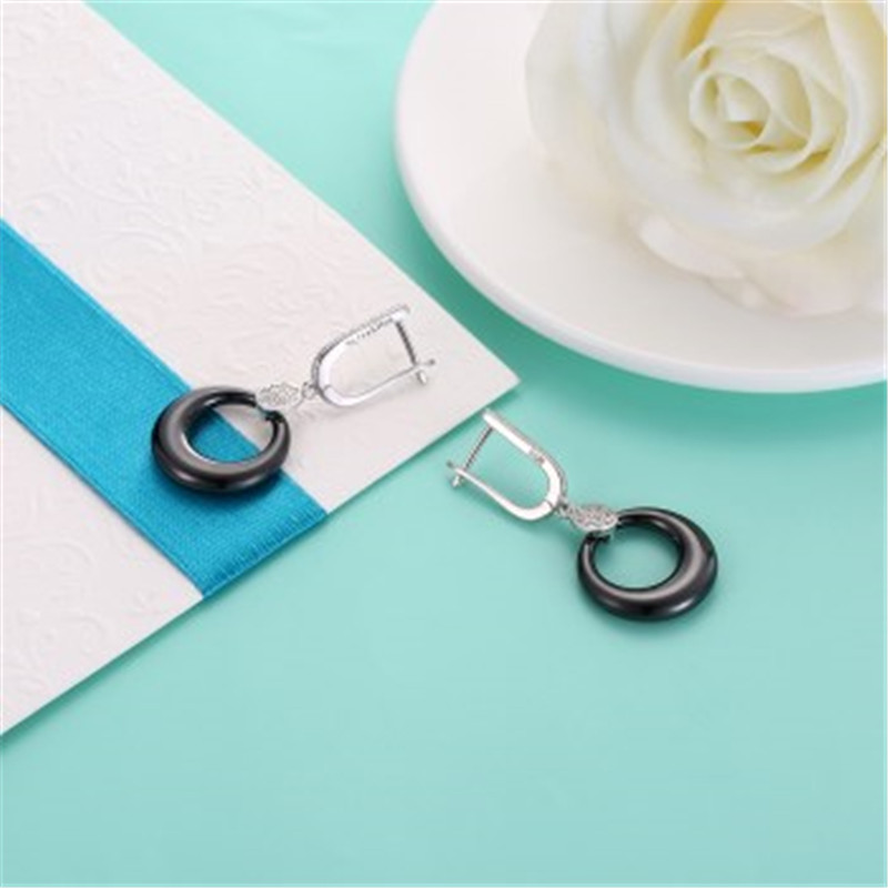 2017 Fashion 925 Sterling Silver Women Smooth Ceramics Round Drop Earrings Unique Earrings For Women Fine Jewelry Gift