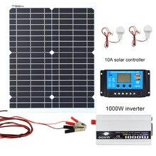 20 Вт 18 в монокристаллическая Кремниевая солнечная панель 1000 Вт Инвертор 12 В/24 В до 220 В/110 В+ ШИМ 10 А контроллер заряда комплект зарядного устройства