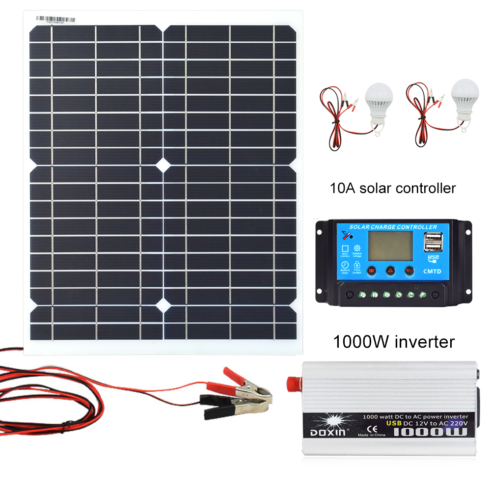 20W 18V Monocrystalline Silicon Solar Panel 1000W Inverter 12V/24V To 220V/110V+PWM 10A Charge Controller Battery Charger Kit