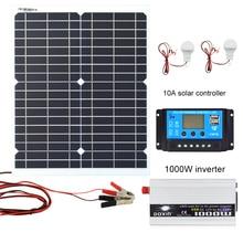 цены на 20W 18V Monocrystalline Silicon Solar Panel 1000W Inverter 12V/24V To 220V/110V+PWM 10A Charge Controller Battery Charger Kit  в интернет-магазинах