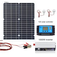 20W 18V Monocrystalline Silicon Solar Panel 1000W Inverter 12V/24V To 220V/110V+PWM 10A Charge Controller Battery Charger Kit