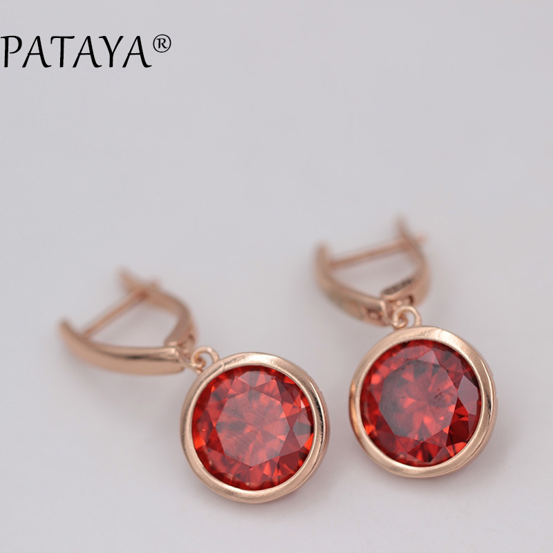PATAYA New Multi-Colored Green Round Natural Zirconia Earrings 585 Rose Gold Dangle Earrings Women RU Hot Retro Luxury Jewelry
