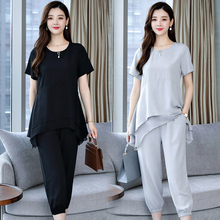 YICIYA Chiffon Plus Size 3XL 4XL 5XL Summer 2 Piece Set Women Outfit Tracksuit for Pants and Top 2019 Gray Clothing