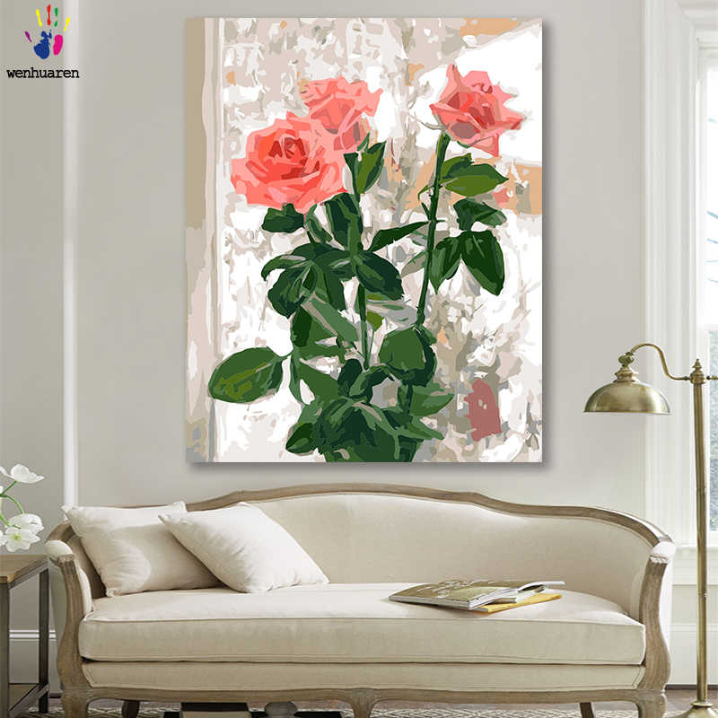 DIY colorings pictures by numbers with colors Romantic pink rose illustration picture drawing painting by numbers framed Home