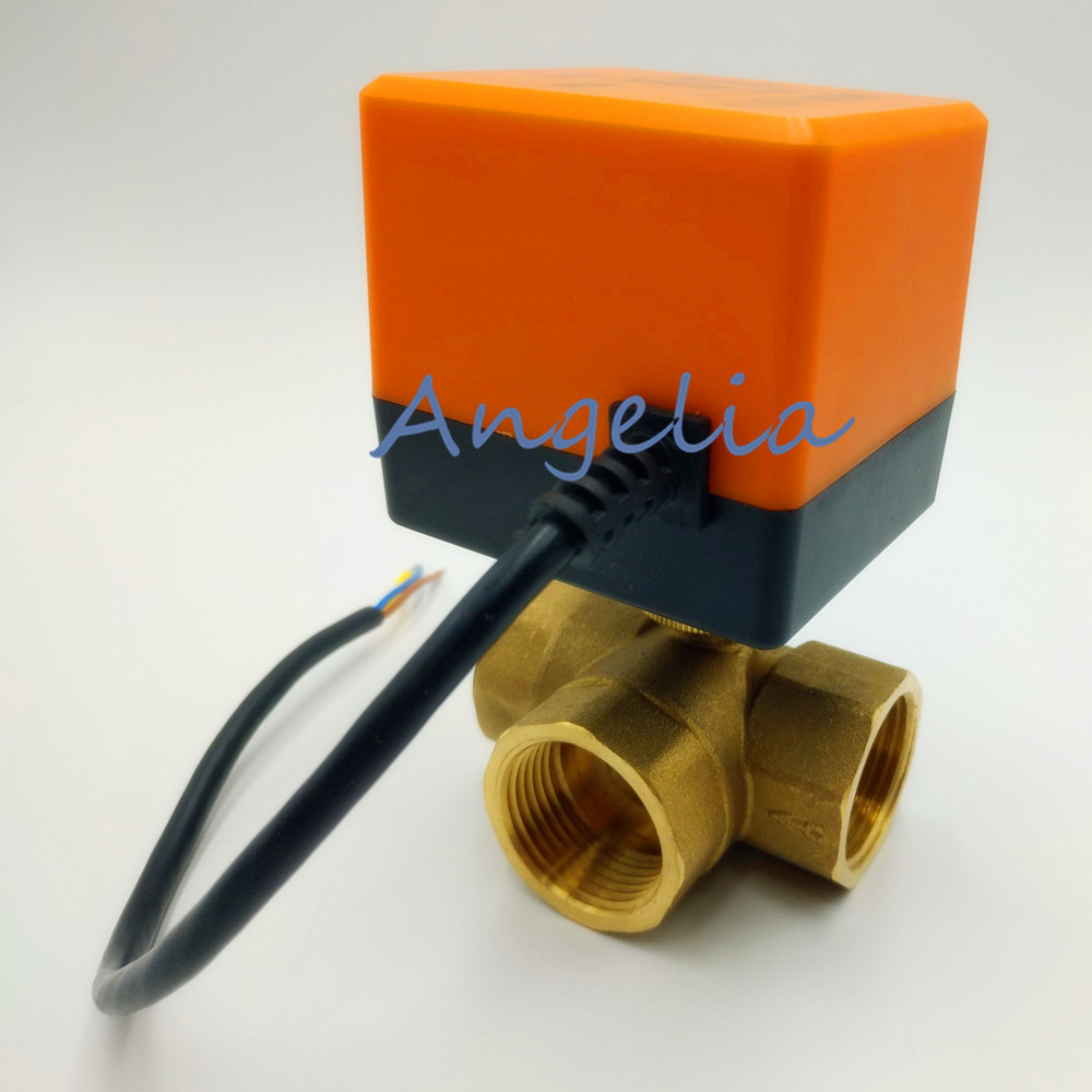 AC 220V G1/2 BSPP DN15 Brass 3 Way Motorized Ball Valve T Type Electrical Actuator Valve female t port brass ball valve three way 2 bspp connection pump