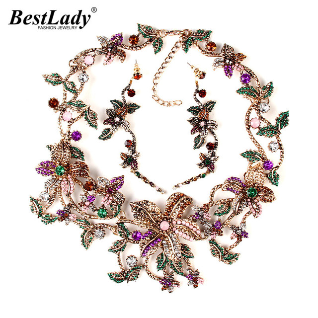 Best lady New Arrival Fashion Metal flower Pendants & Necklaces Vintage Crystal Collar Statement Necklace Gifts   B431