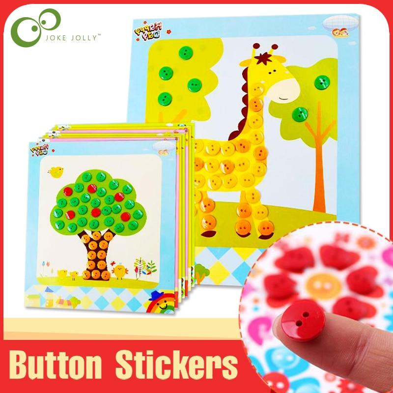 4Pcs/1Pcs Button Puzzle Stickers Handmade DIY Toys For Children Montessori Speelgoed Brinquedo Brinquedos Juguetes GYH