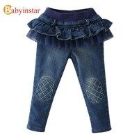 Babyinstar 4-12 Yıl Kız Kot Pantolon Kalın Kadife Fırfır Dantel Patchwork Rahat Çocuklar Kızlar için Kot Pantolon sonbahar polar kot