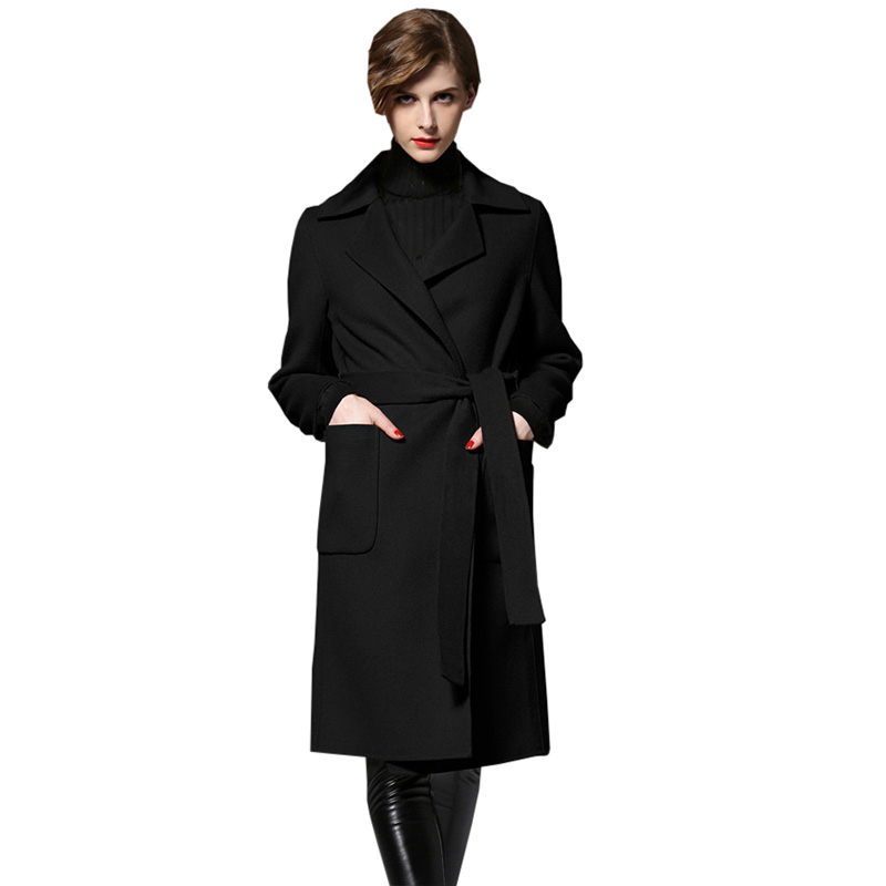 Long Slim   Trench   Coats Women Fashion 2018 Spring Winter Slim Deerskin Coat European and American Female Outerwear   Trench   RE0170