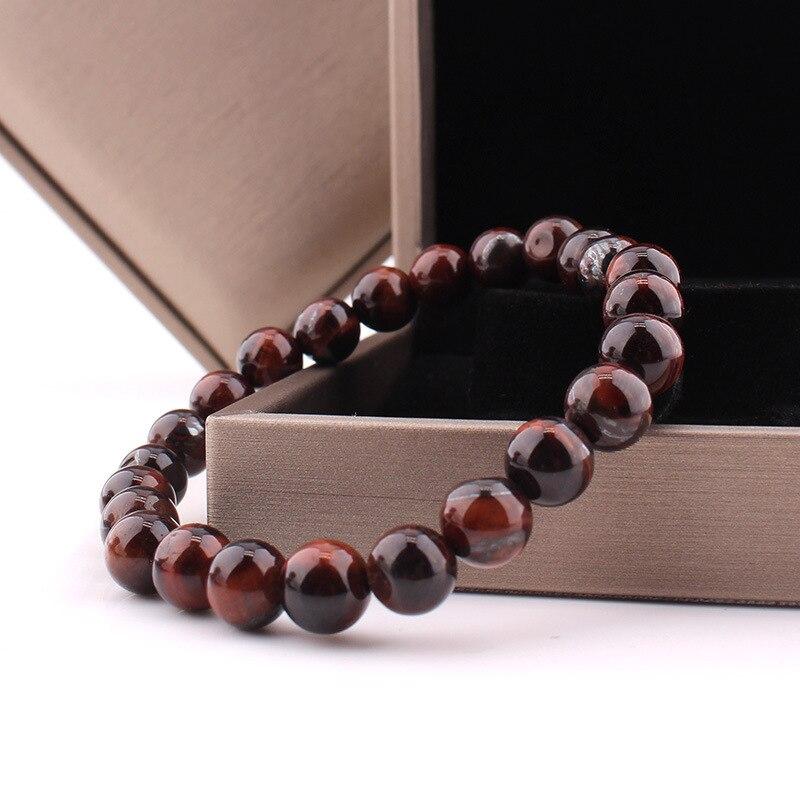 GVUSMIL High Quality Tiger Eye Stone Bracelet Natural Stone Bead Mens Bracelet Throat Chakra Spiritual Gift for Him