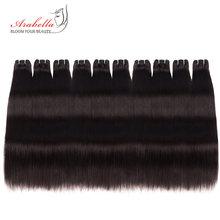 10 mechones de cabello humano brasileño Remy liso, 100% de Color Natural, 10 mechones, venta al por mayor