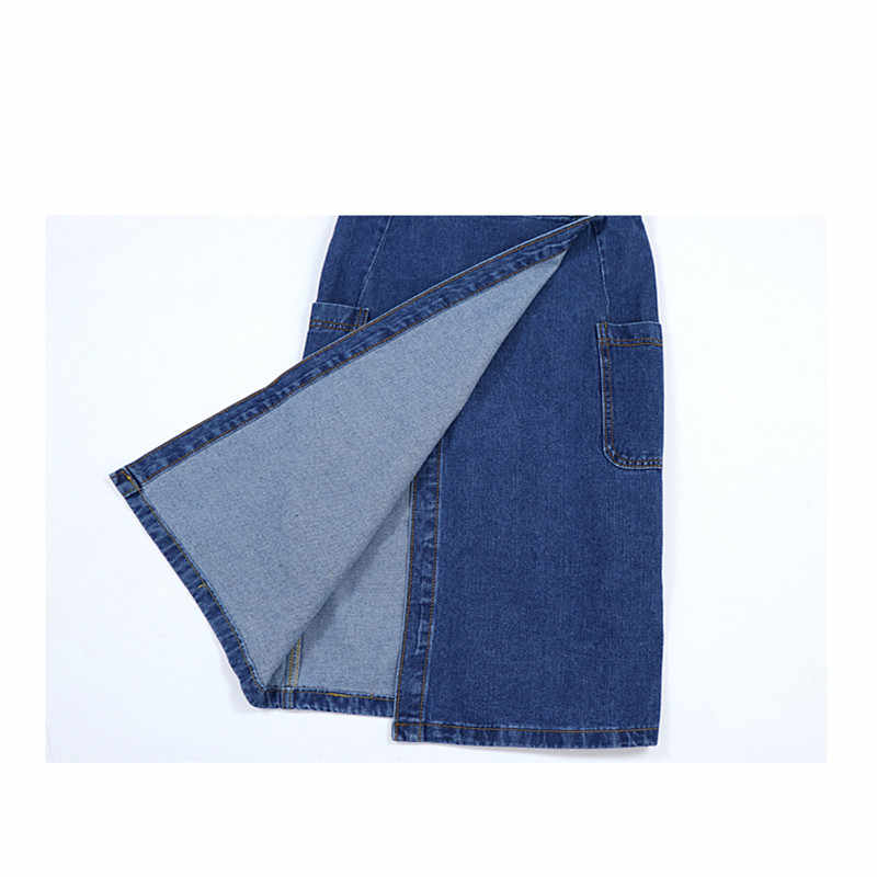 2019 Весна Лето Новая версия темпераментных повседневных длинных разрезов с высокой талией тонкое джинсовое платье с v-образным вырезом на бретелях а220