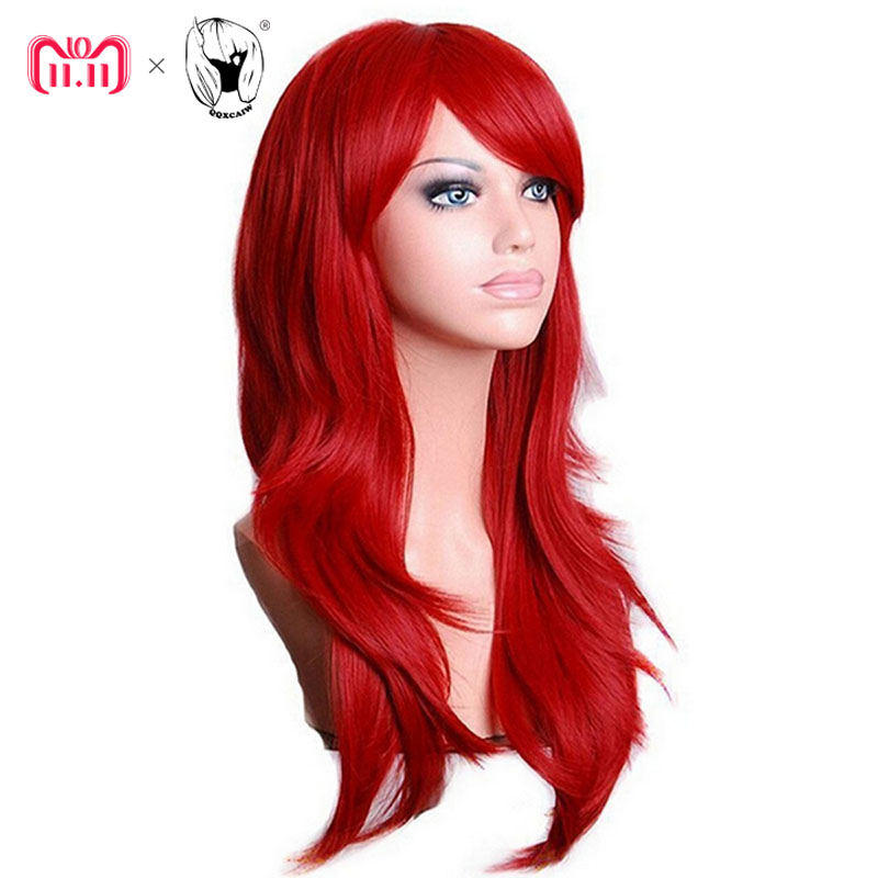 QQXCAIW Lange Wellenförmige Cosplay Perücke Rot Grün Puprle Rosa Schwarz Blau Splitter Grau Blonde Braun 70 cm Synthetische Haar Perücken
