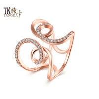 TANGKA Unique Design Rose Gold Titanium Steel Ring For Ladies Receptions Engagement Wedding Jewelry Multiple Zircon