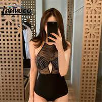 2019 High Neck Mesh One Piece Swimsuit Cut Out Swimwear Women Backless Monokini Push Up Trikini Thong Bath Suit Maillot De Bain